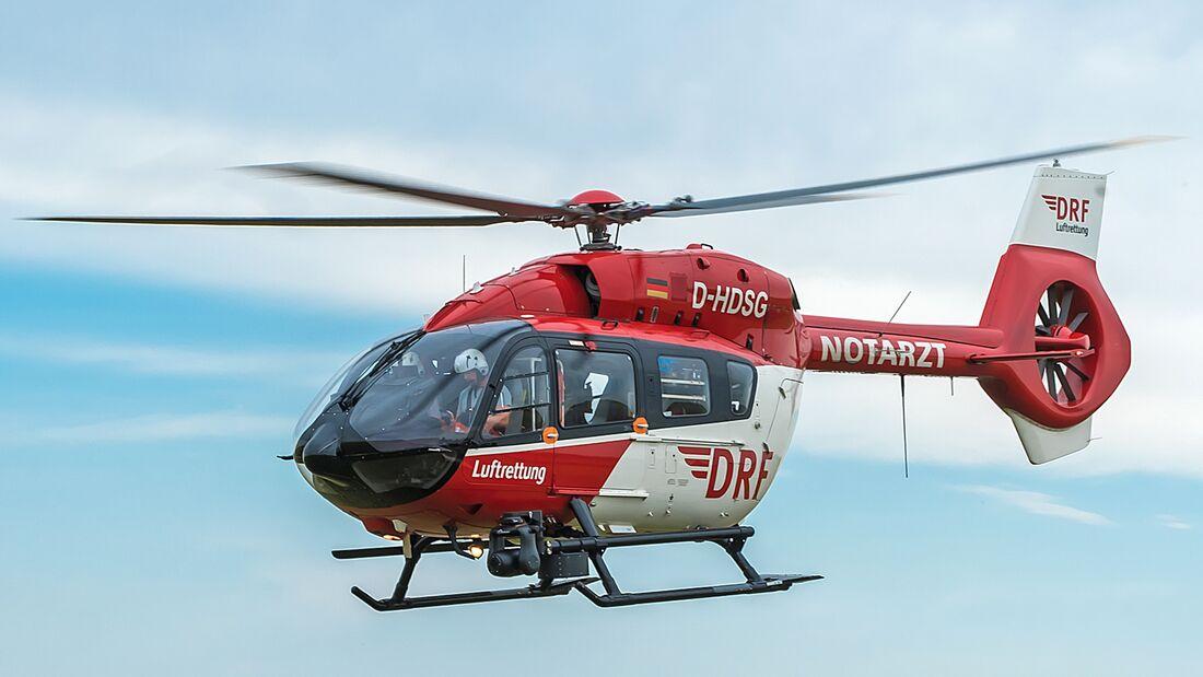 Eine H145 der DRF Luftrettung im Einsatzflug.